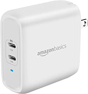 Amazon Basics 36W Two-Port USB-C Wall Charger for Tablets and Phones with Power Delivery - White (non-PPS)