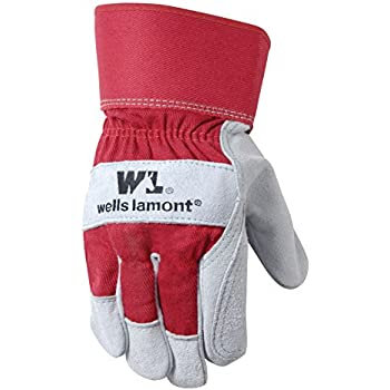 Wells Lamont Leather Work Gloves with Safety Cuff, Double Palm, Split Cowhide, One Size (4050)