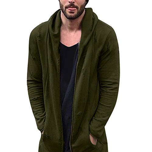 Sleeve Turtleneck Mock Golf Short (Inverlee-Mens Hole Hooded Solid Trench Coat Jacket Cardigan Long Sleeve Outwear Blouse)