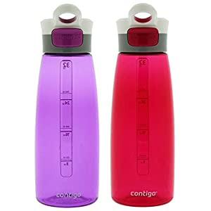 Contigo Autoseal Grace Water Bottle, 32-Ounce, Radiant Orchid & Sangria (2 Pack)