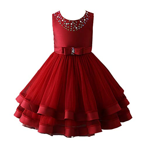 Glamulice Christmas Dress Girls Ruffles Vintage Embroidered Sequins Lace Dresses Bridesmaid Birthday Party Gown 2-16Y (3-4Y, Wine Red)