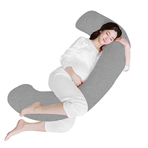 Angel Unique C Shape Body Pregnancy Pillow with Jersey Cover - Full Body Support Pillow for Side sleeping and Back Pain - Maternity Pillow - Gray