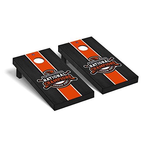 Victory Tailgate Oregon State Beavers Regulation Cornhole Game Set World Series Champion Onyx Stripe Design ()
