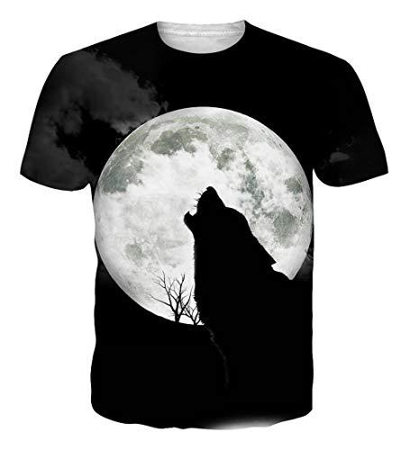 (NEWISTAR Teen Boys 3D Wolf Moon Short Sleeve T-Shirt Tees l)