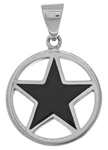 Jewelry Trends Pentacle Star Pentagram Sterling Silver Pendant Created Black Onyx