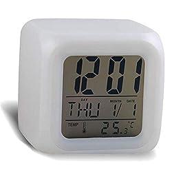 LED Digital Alarm Clock, 7 Colors Change Simple Operation Cube Night Light Clock (White)