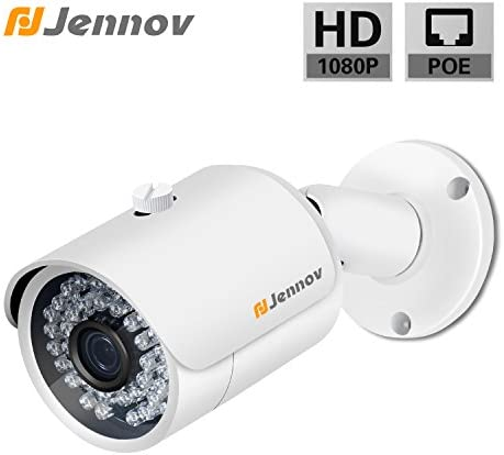 POE Security IP Camera Jennov 3MP Bullet Surveillance Camera with 3.6mm Lens Night Vision Free Remote View App Motion Detection IP66 Weatherproof Outdoor Indoor