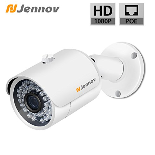 POE Security IP Camera Jennov 1080P Bullet Surveillance Camera with 3.6mm Lens Night Vision Free Remote View App Motion Detection IP66 Weatherproof Outdoor Indoor