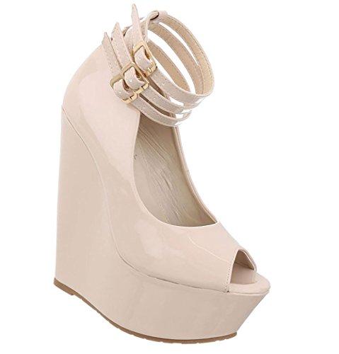 Schuhcity24 Damen Schuhe Pumps Keil Wedges Plateau Peep Toe Beige