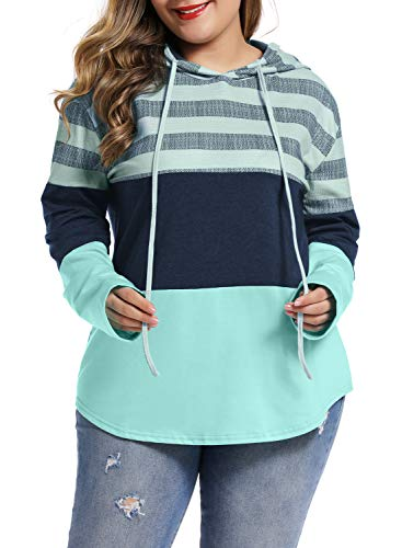 LALAGEN Womens Casual Hoodies Color Block Drawstring Plus Size Pullover Sweatshirts Green XXXL