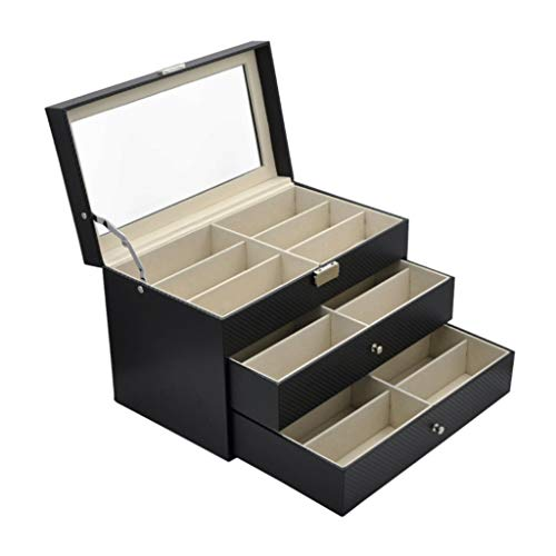 Glasses Box,Sunglasses Organizer for Women Men, Multiple Eyeglasses Eyewear Display Case, Leather Multi Sunglasses Jewelry Collection Holder with Drawer, Sunglass Glasses Storage Box with 18 Compartme