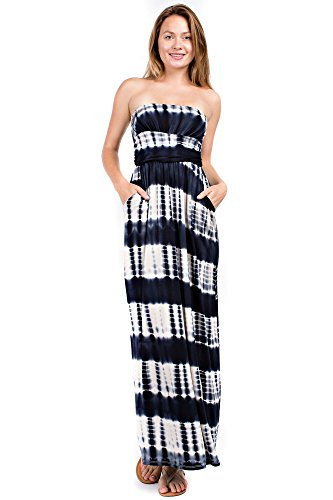 Betsy Red Couture Women's Ruched Strapless Soft Knit Maxi Dress (S-3X) (2X, Black Tie Dye)