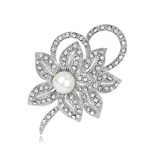 DONGMING Faux Pearl Crystal Flower Brooch for Women Vintage Breastpin Rhinestone Lapel Pin Fashion Collar Jewelry Gift