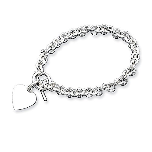 Sterling Silver Engraveable Heart Disc on Fancy Link Toggle Bracelet 8.75 Inches (0.67 Inches Wide)