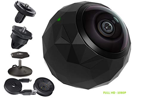 360fly 360° HD Video 1080p Camera -Dustproof, Shockproof, Water Resistant with Accessories Kit - Certified Refurbished