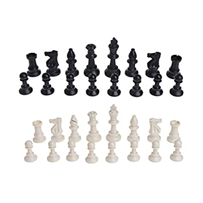 EA-STONE Tournament Chess Set - Plastic Filled Chess Pieces and Green Roll-up Vinyl Chess Board?32 Pieces