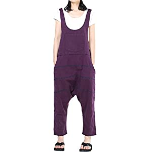 Mordenmiss Women's Baggy Bib Overalls Denim Cotton Harem Wide Leg Jumpsuits