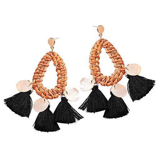 (Cathy Clara Bohemian Rattan Tassel Handmade Long Round Earrings Ladies Jewelry Creative Earrings for Women Sterling Hoop Earrings)