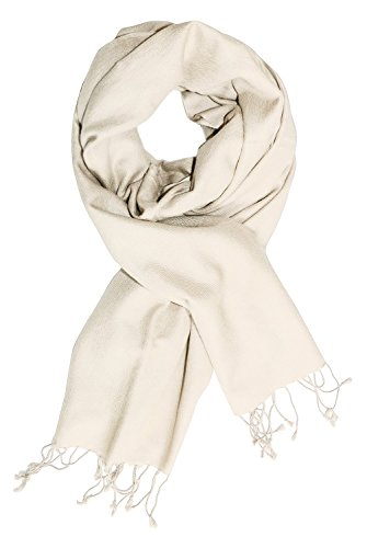 Peach Couture Luxurious Classic Soft Cashmere and Silk Blend Pashmina Wrap Shawl (Off (Cashmere Silk Blend)