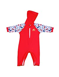Nozone Kailua Hooded Baby Sun Protective Swimsuit in Red/Salty, 12-18 Months