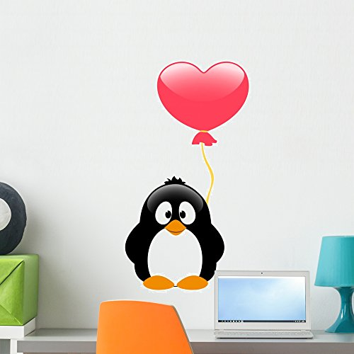 - Wallmonkeys Penguin with Balloon Wall Decal Peel and Stick Graphic WM300256 (24 in H x 18 in W)