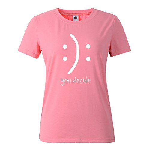 Corta Yeesea Donna Rosa Shirt Stampato Manica Camicetta Tops Estate T Casual wAIq7rapI