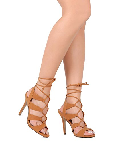 Breckelles Breckelles Ed04 Donne In Similpelle Peep Toe Lace Tie Wrap A Spillo Sandalo Marrone Chiaro