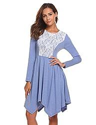 Se Miu Womens Asymmetrical Hem Long Sleeve Fit Casual Swing T Shirt Tunic Dress M A Light Blue Grey