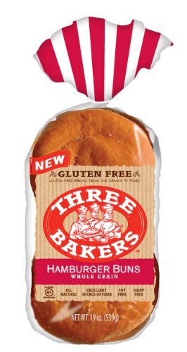 Three Bakers Gluten Free Whole Grain Hamburger Bun (Pack of 3) - Whole Wheat Hamburger Buns