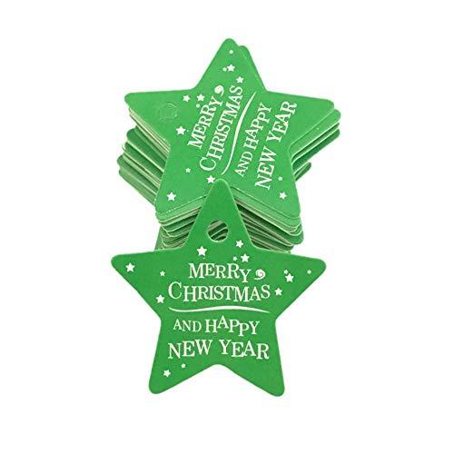 Clearance Sale! MatureGirl 100Pcs Star Santa Claus Christmas Tag Candy Bag Decoration Gift Hang Tags (F)
