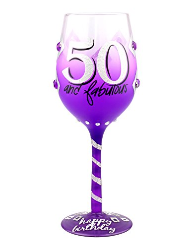 Top Shelf 50th Birthday Wine Glass ; Unique & Thoughtful Gift Ideas for Friends and Family ; Hand Painted Red or White Wine Glass for Mom, Grandma, and Sister by Top Shelf