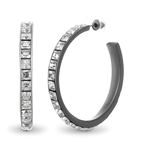 - STEVE MADDEN 48mm Gunmetal Tone Square Rhinestone Design Open Hoop Earrings For Women (Gunmetal)