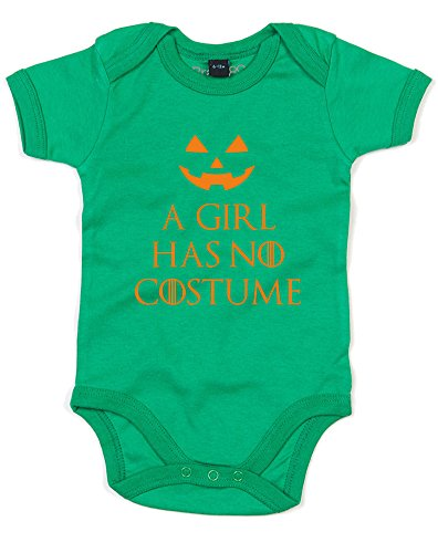 A Girl Has No Costume, Printed Baby Grow - Kelly Green/Orange 12-18 -
