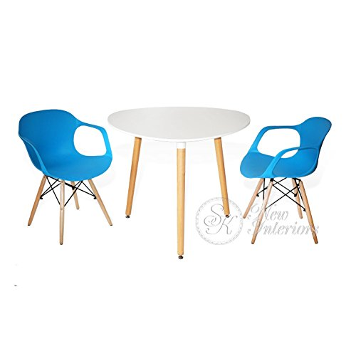 3-Piece Dining Set White Rounded Triangle Round Table Blue Armchairs Modern Wood Legs