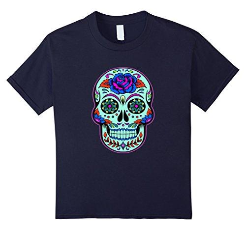 Kids Sugar Skull T-shirt - Halloween Day of the Dead Skull Shirt 10 Navy