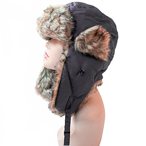 Pop Fashionwear Women's Trapper Winter Ear Flap Hat P136 (Charcoal)