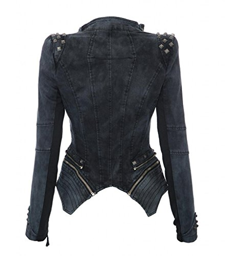 Minetom Mujeres Mezclilla Chaqueta Punk Estilo Remache Tachonado Solapa Abrigo Con Cremallera Outwear Gris