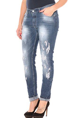 #Curvy by Coyba Jeans a sigaretta donna slavato con usure e paiettes taglia morbida Jeans
