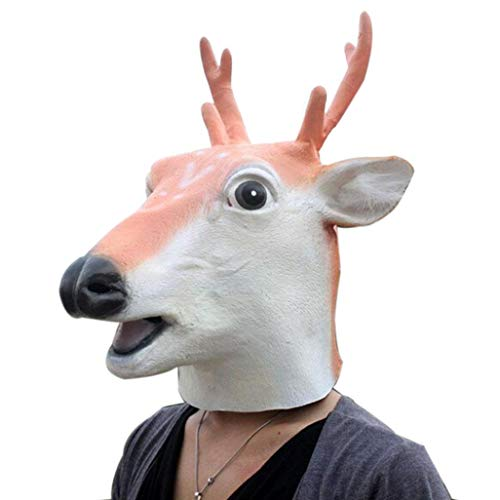 XILALU Halloween Latex Deer Head Mask, Novelty Animal Theme Party Masquerade Cosplay Costume Props Headgear - Toy Gift