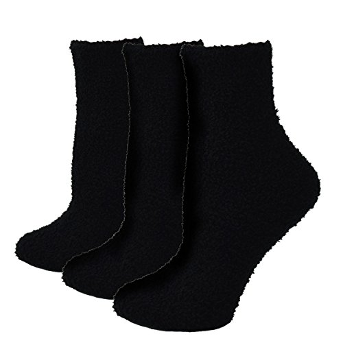 - Fitu Women's Soft Warm Cozy Fuzzy Socks 3-pack Within Gift Box (BLACK)