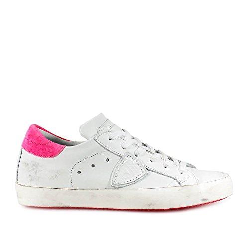 Philippe Model Scarpe da Donna Sneaker Paris Pelle Bianca Fucsia Primavera Estate 2018