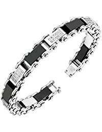 "<span class=""a-offscreen"">[Sponsored]</span>Stainless Steel Bracelet with Paved Gem & Black Link (Sold Ind.)"