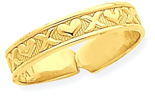 14k Yellow Gold X Hearts Adjustable Cute Toe Ring Set Fine Jewelry Gifts For Women For Her by ICE CARATS (Image #1)