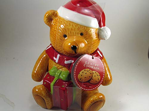 (Teddy Bear Luxury Ceramic Cookie Jar With Cookies 9 inchs High Christmas Gift)