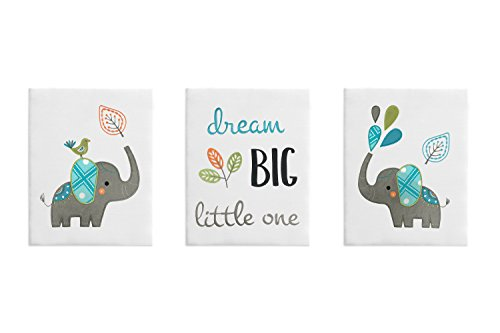 Turquoise and Grey Jungle Wall Art Room Decor Hangings for Baby, Nursery, Kids and Childrens Mod Elephant Collection by Sweet Jojo Designs - Set of 3 - Kid Art Elephant