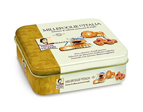 Matilde Vicenzi Millefoglie D'Italia, Assortment of Patisseries, Puff Pastries and Cookies, Made in Italy (375 gram Tin)