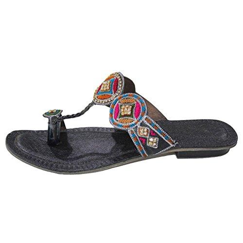 W & W Mujeres Ladies Casual Flat Sandal indio hecho a mano bordado kolapuri Talla Negro Multi (k904) Multicolor - negro/multicolor