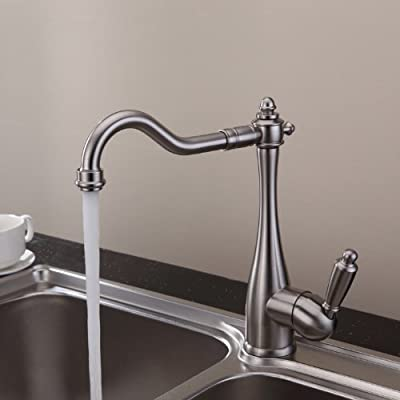 Lightinthebox Deck Mount Long Curve Spout Kitchen Sink Faucet Contemporary Solid Brass Nickel Brushed Finish Single Handle One Hole Swivel Rotatable Faucets Plumbing Fixtures Bar Faucets Ceramic Valve Included
