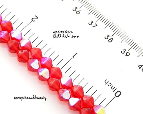 Pendant Jewelry Making 50 Light Red AB Czech Pressed Glass 6mm Double Cone Bicone Beads