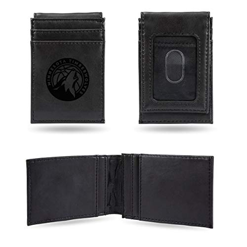 Rico Industries NBA Minnesota Timberwolves Laser Engraved Front Pocket Wallet, Black